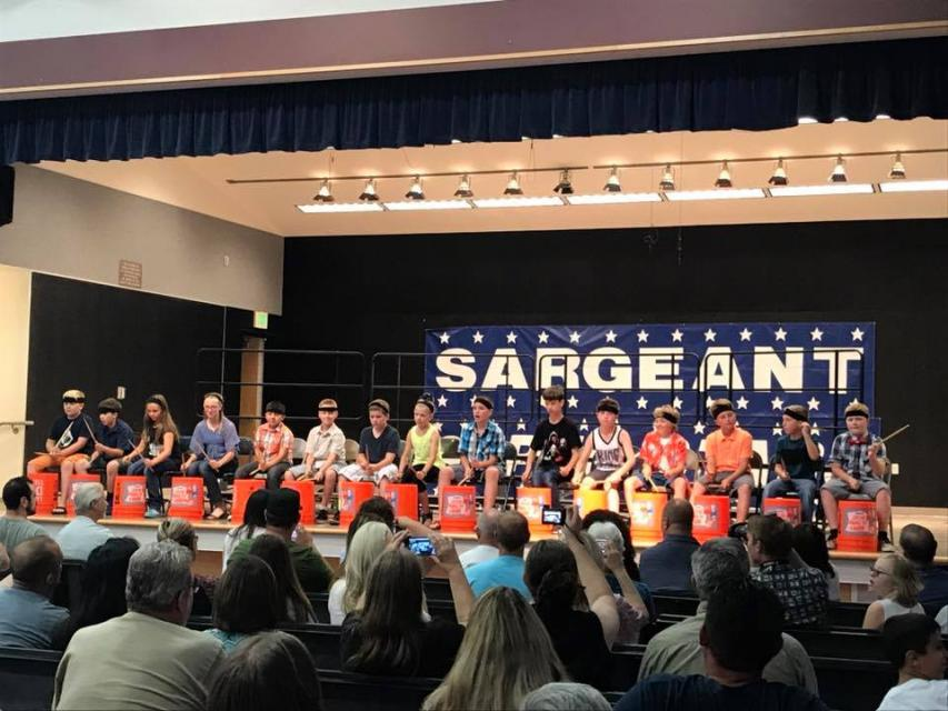 Drum band performing